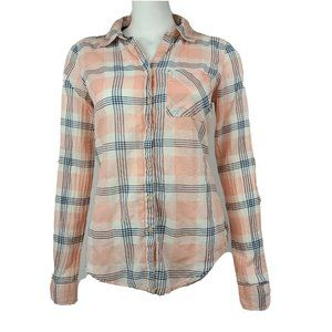 MAURICES Pink Blue Button Down Shirt Small